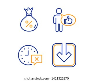 Like, Time and Loan icons simple set. Load document sign. Thumbs up, Remove alarm, Money bag. Download arrowhead. Technology set. Linear like icon. Colorful design set. Vector