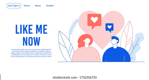 Like time. Social network life. Digital communication. Positive followers, subscribers feedback. Man woman falling love. Online dating. Follow comment concept. Valentine day. Landing page design