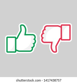 Like unlike buttons. Thumbs up and down isolated icons. Yes and no fingers, button positive negative nope marks. Accept and dislike social media feedback vector symbols