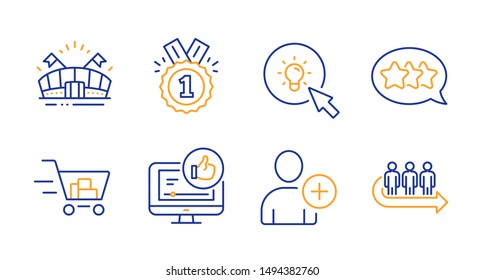 Like video, Stars and Add user line icons set. Sports arena, Shopping cart and Approved signs. Energy, Queue symbols. Thumbs up, Customer feedback. Business set. Line like video icon. Vector
