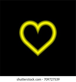 Like yellow glowing neon ui ux icon. Glowing sign logo vector