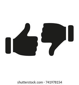 Like.Dislike, unlike. Thumbs up.Thumbs down. Icon set.