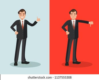 Likes and dislikes. Good and bad. Businessman showing gesture of approval and disapproval.