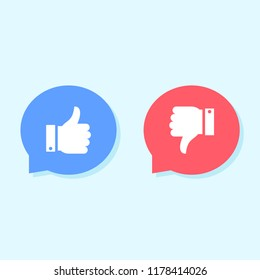 Likes and dislikes icons, social media icons