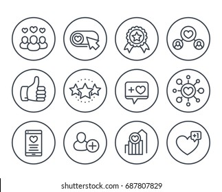 Likes, followers, hearts, rating, reputation line icons on white