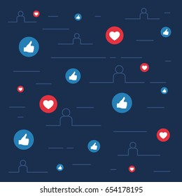 Likes and loves symbols, social sites concept, vector illustration