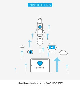 Likes and milestones linear style infographics with rocket in the clouds.