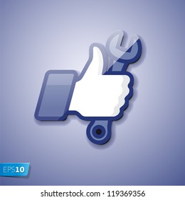 Like/Thumbs Up icon with wrench, vector Eps 10 illustration