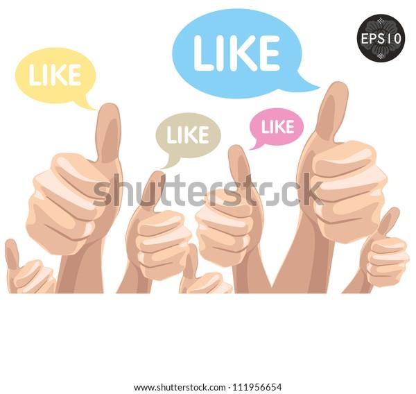 Like/Thumbs Up symbol hand drawn, vector Eps10 illustration.