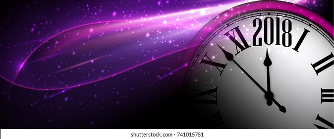 Lilac 2018 New Year shining banner with clock. Vector illustration.