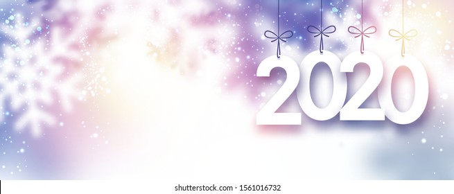 Lilac blurred 2020 New Year banner with snowflakes. Vector background.