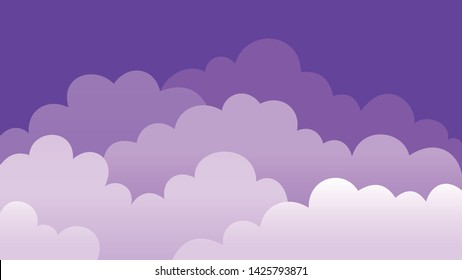 lilac clouds in the purple sky