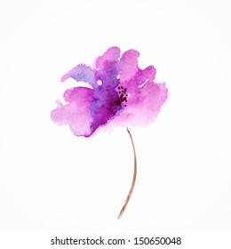 Lilac flower. Watercolor floral illustration. Floral decorative element. Vector floral background.