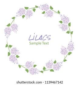Lilac flower wreath. Logo design. Text hand drawn.