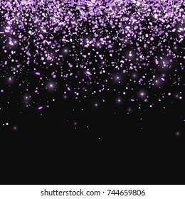 Lilac glitter on black background. Vector