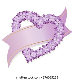 Lilac heart with ribbon isolated on white