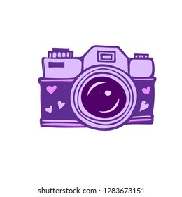 Lilac photo camera with lens decorated with hearts. Vector illustration.