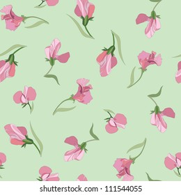lilac and pink flowers sweet peas seamless pattern on green background