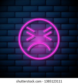 Lilac pink neon sign on brick wall Emoji icon. Range to assess the emotions of your content. User experience.