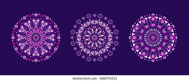 Lilac, purple, pink mandala stained glass illustrations collection. Circle shape, stylized rose window vector ornament, mosaic decoration. Round frames, radial floral motive design elements set.