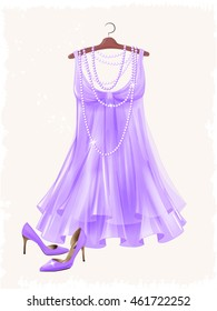 Lilac silk dress and high-heeled shoes.  Dress and shoes for party. Festive women's attire and accessories.  Fashion cocktail dress on the hanger. Stylish female clothing. Christmas outfit collection