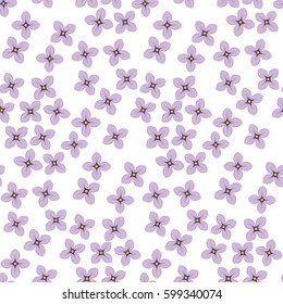 Lilac spring blossom surface design. Floral seamless pattern vector illustration. Violet flowers repeatable motif.