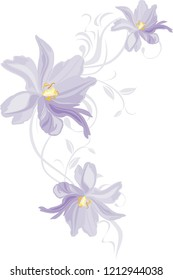 Lilac tulips. Decorative element for design. Vector