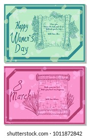 lilac and tulips two bright postcards vector illustration