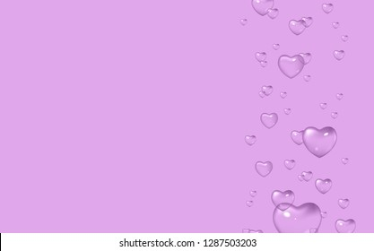 Lilac vector background with bubbles in shape of hearts, Valentine's Day, Women's Day. Design for greeting card, poster and invitation of the wedding.