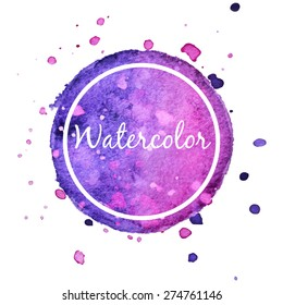 Lilac watercolor splash circle background