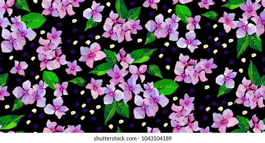 Lilac wild flowers seamless pattern on black background. Small flowers and leaves hand drawn. Vector illustration for textile, wrapping, scrapbooking.