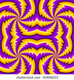 Lilac and yellow background with spin illusion. Seamless pattern.