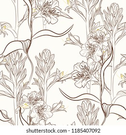Lilies and alstroemeria flowers seamless pattern texture. Brown sepia outline on beige background. Blooming spring summer line flowers illustration.