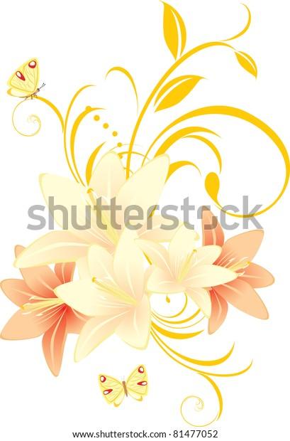 lilies-floral-ornament-butterflies-vecto