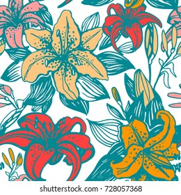 Lilies Floral seamless pattern vector. Colorful.Hawaiian colors.
