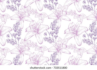 Lilies and lavender pattern background. Vector delicate illustrations