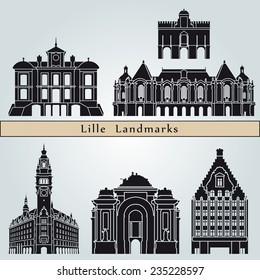 Lille landmarks and monuments isolated on blue background in editable vector file