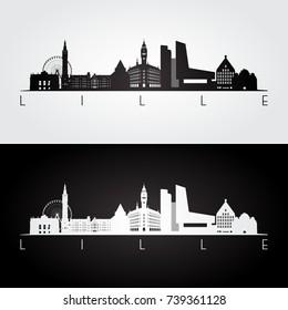 Lille skyline and landmarks silhouette, black and white design, vector illustration.