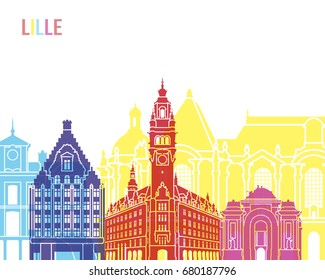 Lille skyline pop in editable vector file