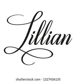 Lillian. Calligraphic spelling of name. Elegant calligraphy for invitation and greeting cards. Copperplate style. Isolated black script. Vector
