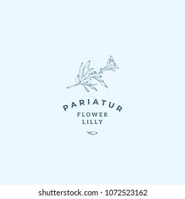 Lilly Flower Abstract Vector Sign, Symbol or Logo Template. Hand Drawn Retro Lilly Illustration with Classy Typography. Premium Quality Feminine Emblem for Boutiques, SPA, Salons, etc. Isolated.