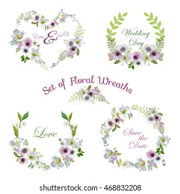 Lily with Anemone Flowers Floral Wreaths. Banners and Tags in Vector