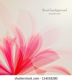 Lily flower abstract vector background, greeting card template