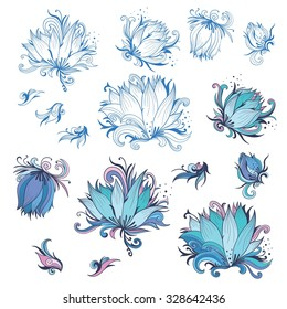 Lily Flower Design Elements Set | Collection of Vector floral outline sketch and colored shapes for tender wedding and event design