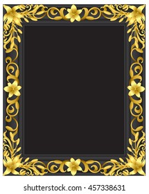 Lily flower gold frame from vector