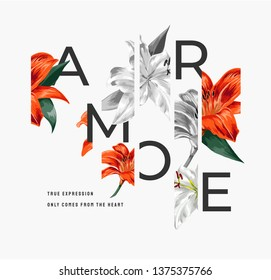 "lily flower illustration with slogan ,Amore is the Italian word for ""love"""