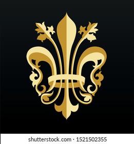 Lily flower royal emblem. Royal decoration. Royal badge