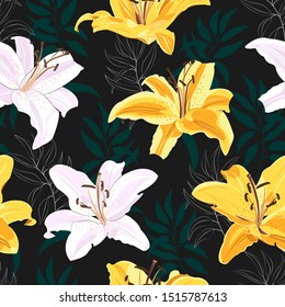 Lily flower seamless pattern on black background, White and yellow lily floral vector illustration