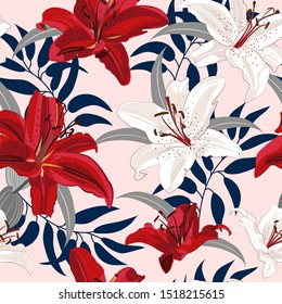 Lily flower seamless pattern on pink background, Red and White lily floral vector illustration