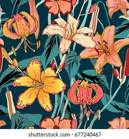 Lily flowers seamless pattern